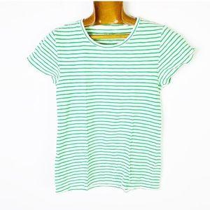 🌵J. CREW cotton Studio Tee Green White striped S